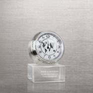 Time Around the World Round Clock on Glass Base